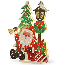 """National Tree PreLit 17.5"""" Wooden Santa Scene"""