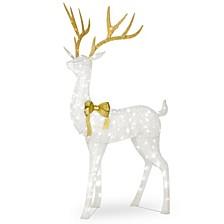 "75"" Pre-lit Crystal White Standing Buck"