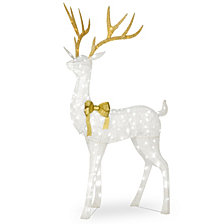 "National Tree Company 75"" Pre-lit Crystal White Standing Buck"