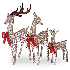 """60"""", 52"""" & 36"""" Champagne Glittered Deer Family of 3 with Clear Lights"""