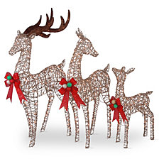 "National Tree Company 60"", 52"" & 36"" Champagne Glittered Deer Family of 3 with Clear Lights"