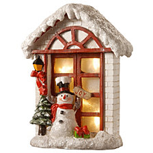 "National Tree 10"" Polyresin House with Snowman with Battery Operated LED Lights"