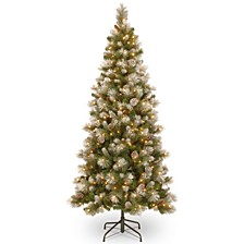 National Tree 7 .5' Snow Capped Mountain Pine Slim Tree with Pine Cones and 400 Clear Lights