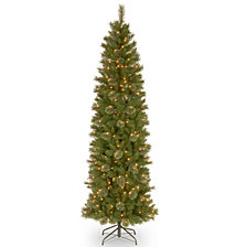 National Tree 6 .5' Tacoma Pine Pencil Slim Tree with 250 Clear Lights