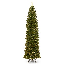 National Tree 10' North Valley Spruce Pencil Slim Tree with Clear Lights