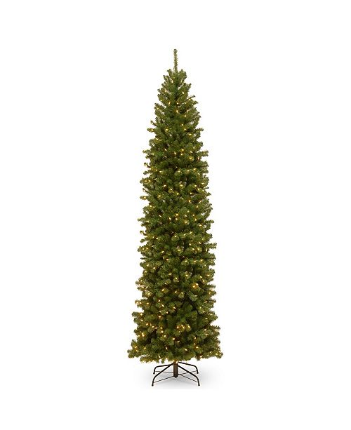 National Tree Company National Tree 10' North Valley Spruce Pencil Slim Tree with Clear Lights