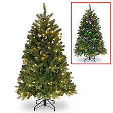 National Tree 4 .5' Feel Real Newberry Spruce Slim Hinged Tree with 200 Dual Color LED Lights Power Connect