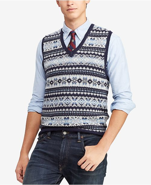 a549ad8f4 Polo Ralph Lauren Men s Fair Isle Sweater Vest   Reviews - Sweaters ...