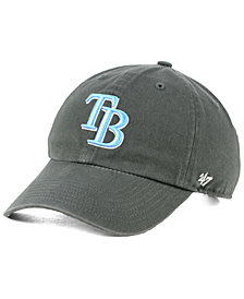 '47 Brand Boys' Tampa Bay Rays Charcoal CLEAN UP Strapback Cap