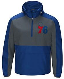G-III Sports Men's Philadelphia 76ers Leadoff Lightweight Half-Zip Jacket