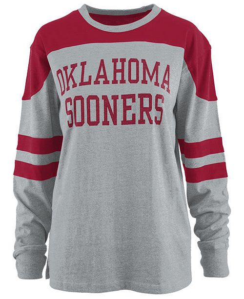 Pressbox Women's Oklahoma Sooners Appliqué Boyfriend Long Sleeve T-Shirt