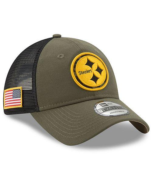 a4b6cdd7 New Era Pittsburgh Steelers Camo Service Patch 9TWENTY Trucker Cap ...