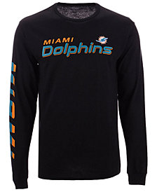 Authentic NFL Apparel Men's Miami Dolphins Streak Route Long Sleeve T-Shirt