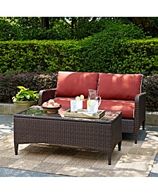 Kiawah 2 Piece Outdoor Wicker Seating Set With Sangria Cushions - Loveseat And Glass Top Table