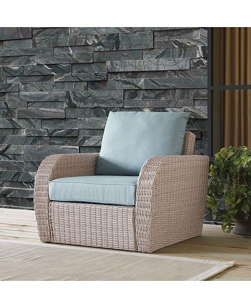 Crosley St Augustine Outdoor Wicker Arm Chair With Universal Cushion