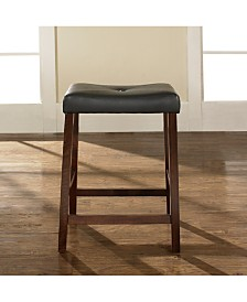 "Upholstered Saddle Seat Bar Stool With 24"" Seat Height (Set Of 2)"
