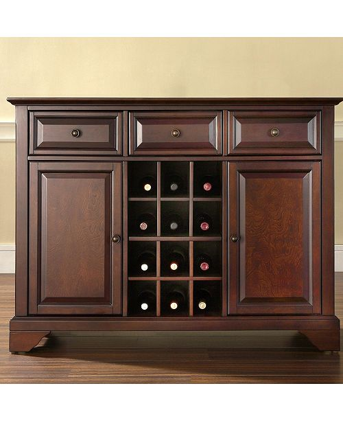 Crosley Lafayette Buffet Server Sideboard Cabinet With Wine Storage