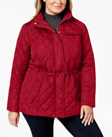 e3188307046bc Charter Club Plus Size Quilted Zip-Front Jacket