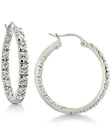 Giani Bernini Cubic Zirconia In & Out Hoop Earrings in Sterling Silver, Created for Macy's