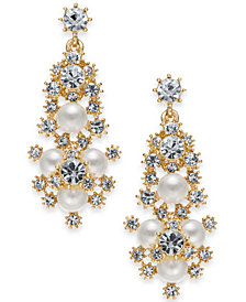 "Charter Club Large Gold-Tone Crystal & Imitation Pearl Snowflake Chandelier Earrings, 1.75"", Created for Macy's"