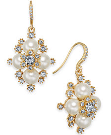 "Charter Club Medium Gold-Tone Crystal & Imitation Pearl Snowflake Drop Earrings, 1.25"", Created for Macy's"