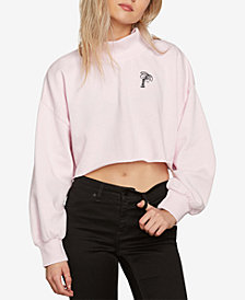 Volcom Juniors' Hustlin' Cropped Fleece Sweater