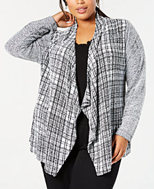 Style & Co Plus Size Plaid Flyaway Cardigan, Created for Macy's