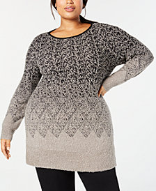 Style & Co Plus Size Graduated Jacquard-Patterned Tunic Sweater, Created for Macy's
