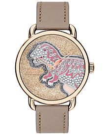 COACH Women's Delancey Carnation Gold-Tone Leather Strap Watch 36mm