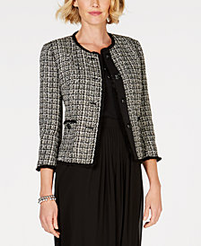 Anne Klein Fringe-Trim Tweed Jacket