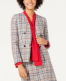 Bar III Tweed Collarless Jacket, Created for Macy's