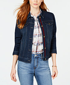 Charter Club Lace-Up Denim Jacket, Created for Macy's