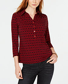 Charter Club Printed 3/4-Sleeve Shirt, Created for Macy's