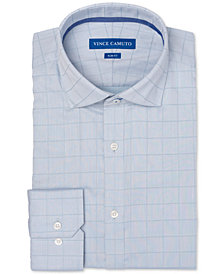 Vince Camuto Men's Slim-Fit Comfort Stretch Twill Check Dress Shirt