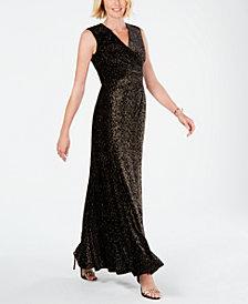 Tahari ASL Metallic-Velvet Knit Gown