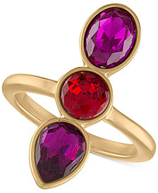 RACHEL Rachel Roy Gold-Tone Crystal Statement Ring