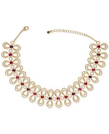 """RACHEL Rachel Roy Gold-Tone Crystal Choker Necklace, 12"""" + 2"""" extender"""