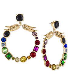 RACHEL Rachel Roy Gold-Tone Crystal Winged X-Large Drop Hoop Earrings