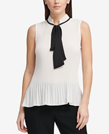 DKNY Petite Pleated Tie-Neck Blouse
