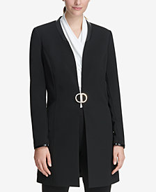 DKNY Topper Jacket With Faux-Leather Trim, Created for Macy's