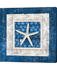 Sea Shell IV on Blue by Belinda Aldrich Canvas Art