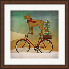 Yellow Lab On Bike Christmas By Ryan Fowler Framed Art