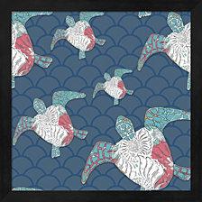 Sea Side Boho Pattern - Turtles By Lightboxjournal Framed Art