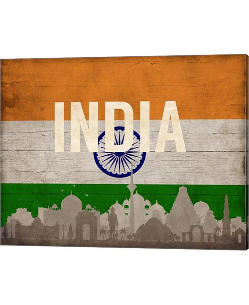 Metaverse New Delhi, India - Flags And Skyline By Take Me Away Canvas Art