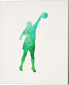 Basketball Girl Watercolor Silhouette Part I by Sports Mania Canvas Art