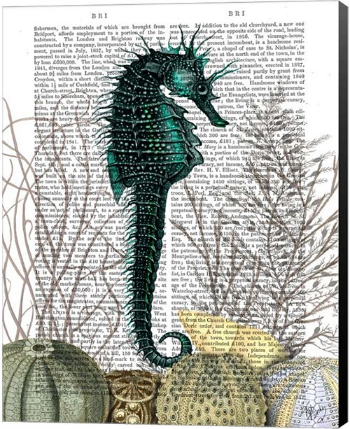 Metaverse Seahorse And Sea Urchins By Fab Funky Canvas Art