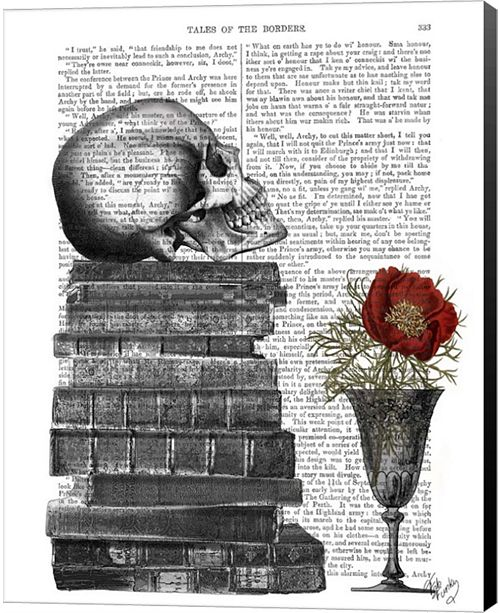 Metaverse Skull And Books By Fab Funky Canvas Art