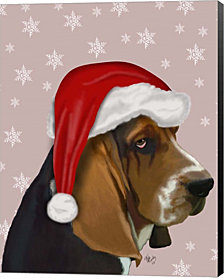 Basset Hound, Christmas Hat by Fab Funky Canvas Art