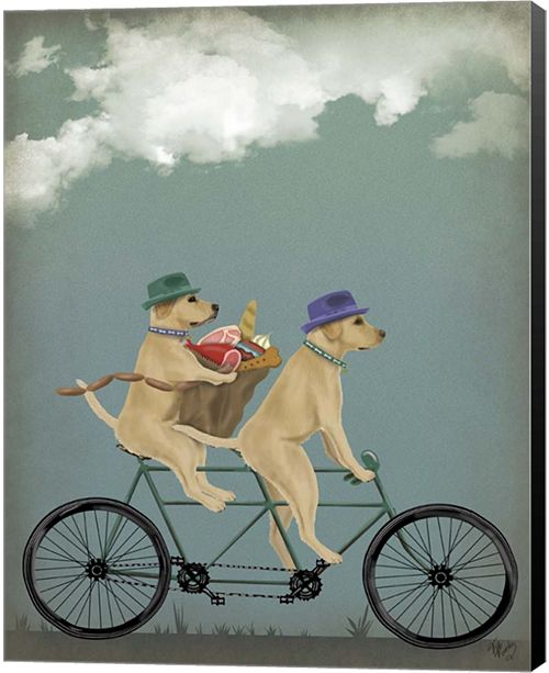 Metaverse Yellow Labrador Tandem By Fab Funky Canvas Art