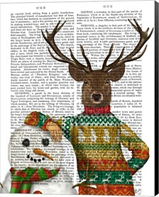 Deer In Christmas Sweater With Snowman By Fab Funky Canvas Art